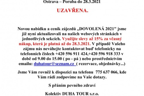 uzavření provozovny do 28.3.2021